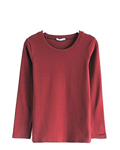 Donna T-Shirt Camicetta Maglietta Manica Lunga Girocollo Tops Vino Rosso