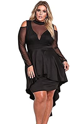 shelovesclothing Women's Plus Size Mesh Hi Low Cut Out Peplum Sheer Sleeves Bodycon Dress