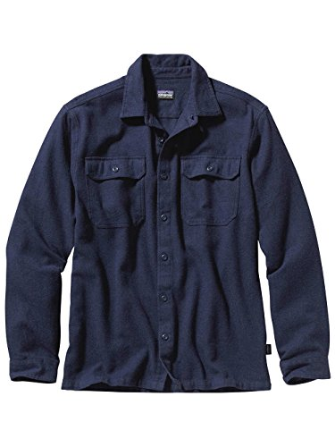 Patagonia Long Sleeved Fjord Flannel Shirt, Navy, Xl