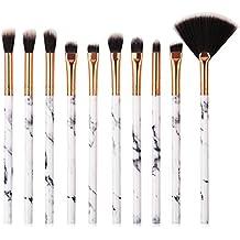 757183cf37e1a Leisial 10pcs Brochas de Maquillaje Cepillo Cosmético para Difuminar Cara  Patrón Mármol con Mango Pinceles para