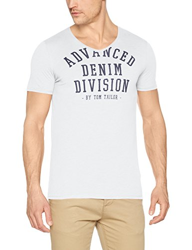 TOM TAILOR Denim Herren T-Shirt Nos V-Neck Tee with Print Weiß (White 2000)