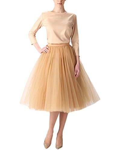 Clearbridal Damen Tutu Rock Kleid Tüllrock Prinzessin Ballettrock 12021 Gold Größe M
