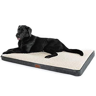 Bedsure M/L/XL Orthopedic Dog Mattress (76cm/91.5cm/112cm) For Small, Medium, Large Pets Up To 50/75/100 lbs - Foam Dog Bed Cushion Pillow/Mat with Plush Sherpa Top - Washable Cover - Grey/Denim Blue by Bedshe