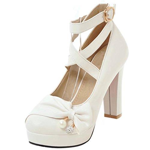 AIYOUMEI Damen Knöchelriemchen Pumps mit Schleife und Perle High Heels Plateau Schuhe