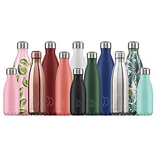 Chilly's Wasserflasche - Edelstal und wiederverwendbar - Auslaufsicher, schweißfrei - Komplett Schwarz - 500ml