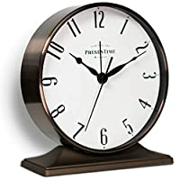 PresenTime & Co Lewis Mantel Alarm Clock, 5.5 x 5 inch, Tabletop Clock, Silent, Arabic Numeral, Bronze Color