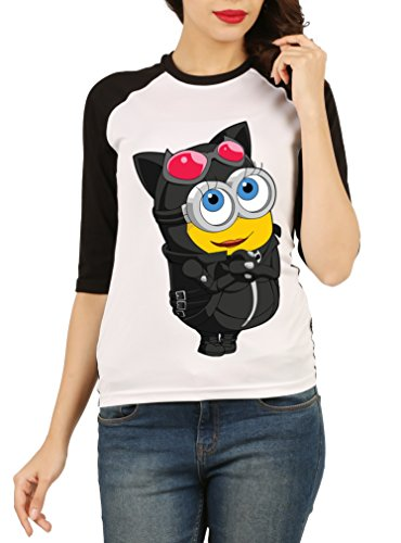 Fanideaz Cotton Girly Cute Minion 3/4 th Sleeves Raglan T Shirt For Women_Black_L  available at amazon for Rs.574