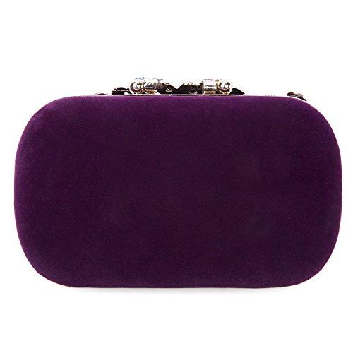 CLOCOLOR Borsa Pochette a mano delle donne con diamanti cristalli luminosi borsetta stile elegante del pavone borsa festa sacchetto di sera, Rosso Viola