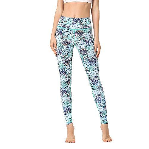 SCYYY Blumendruck Leggings für Frauen und Mädchen Farbe Push Up Yogahosen Schlanker Bauch Kontrolle Stretchy Gym Workout Laufhose,Green,M - Schlanker Farbe Denim Capri