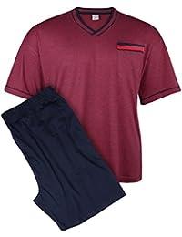 Adamo XXL Pijama corto y cómodo burdeos y azul oscuro