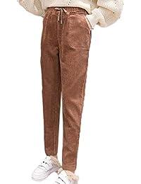 Hellomiko Pantalones de Pana Mujer Otoño Invierno Vintage Pantalones  Casuales Sueltos Pantalones Holgados de Bolsillo Harem 70a7f9e6369