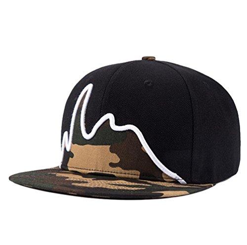 LINNUO Unisex Embroidery Hip Hop Cap Snapback Adjustable Baseball Flat Peak Camouflage Hats