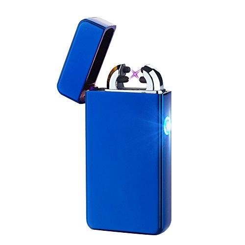 Alxcio USB Wiederaufladbare Elektronisch Dual Arc Feuerzeug Windproof Flammenlose Kein Gas Zigarettenanz&uumlnder Z&uumlndung mit USB-Ladekabel, Stil 2