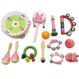 XuBa 13-teiliges Set Holz-Perkussionsinstrumente Spielzeug für Kinder Vorschul-Musikalisches Spielzeug, Geburtstag, Weihnachten, Geschenk für Kinder Girl Type