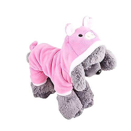 OHQ Hund Haustier Kleidung Schwein Mantel Unisex Haustier Winterkleidung Welpen Hundekatze Mantel Kleid Strickjacke Kleid Warm Hoodies Mantel Kleidung ()