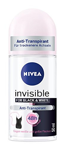 Nivea Roll-on (Nivea Invisible for Black and White Anti-Transpirant Deo-Roller für Frauen, Keine Flecken, 6er Pack (6 x 50 ml))