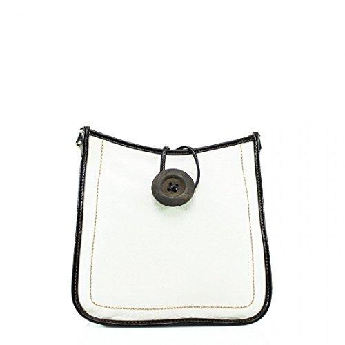 Ydezire® tracolla da donna in finta pelle con bottone, borsa da donna a tracolla Bianco