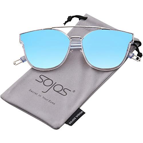 SOJOS Schick Klassische Retro Doppelt Metallbrücken Rechteckig Sonnenbrille Damen Herren SJ2038 mit Blau Rahmen/Blau Linse