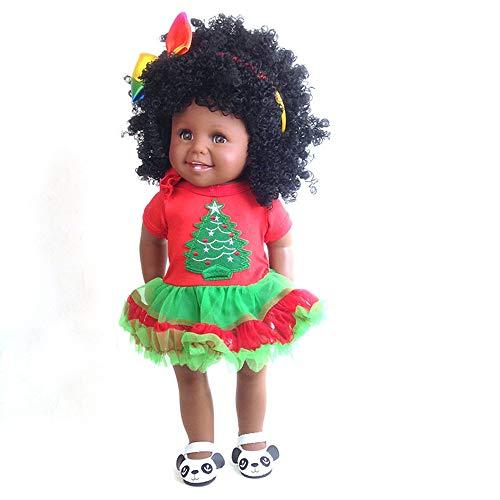 LYHY Babypuppen Mode Puppe für Kinder Afrika American Girl Puppe lebensechte 18 Zoll Baby Reborn Puppen für Kinder Weihnachten Kostüm Geschenk. (Doll Girl Videos American)