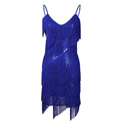 iixpin Damen Tanzkleid Paillettenkleid Latin Kleid Quasten Kleid Abendkleid Latin Salsa Volant für Training Party Club Blau One Size