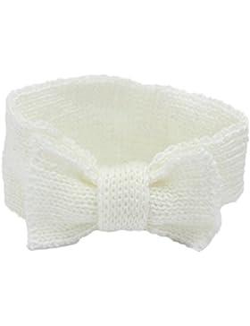 Bowknot modello Baby Girl Boy Knit crochet fascia invernale turbante Headwrap per neonato White