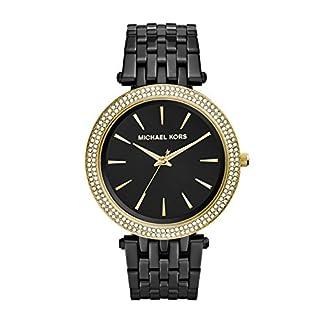 Michael Kors Darci – Reloj análogico de cuarzo con correa de acero inoxidable para mujer, color negro