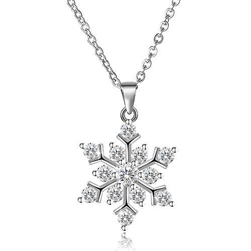Aroncent 925 Sterling Silber Schneeflocke Halskette Kristall Kristallklar Zirkonia Charm Schnee Schmuck für Frau Freundin Mutter Tochter - Kristall-schneeflocke