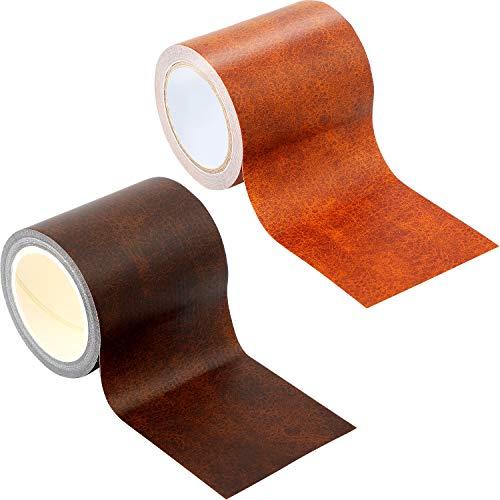 Frienda 2 pezzi patch nastro di ricambio di cuoio 2.25 x 180 pollici patch in pelle auto adesiva per sofà, divano, mobili, sedile auto, borse, marrone scuro, nero
