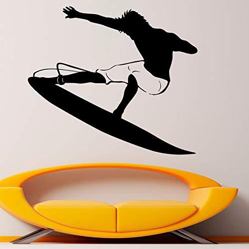 yaoxingfu Heißesten Wassersport 3D Wandaufkleber Surfen Abnehmbare Vinyl Aufkleber Dekoration Für Wohnzimmer Vinilos Paredes gelb 48x42 cm