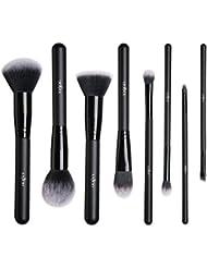 Anjou Pinceaux Maquillages Professionnels Kit de 8pcs, Poils Synthétiques Vegan, 100% Sans Cruauté, Soyeux et Denses, pour Produits de Toute Consistance (Poudres, Crèmes, Liquides) - Kit Pinceaux Maquillages yeux et teint Noir