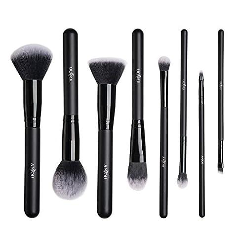Pinceaux Maquillage Anjou Kit de 8pcs, Poils Synthétiques Vegan, 100% Sans Cruauté, Soyeux et Denses, pour Produits de Toute Consistance (Poudres, Crèmes,