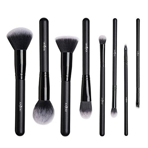 Pinceaux Maquillage Anjou Kit de 8pcs, Poils Synthétiques Vegan, 100% Sans Cruauté, Soyeux et Denses, pour Produits de Toute Consistance (Poudres, Crèmes, Liquides) (Noir)
