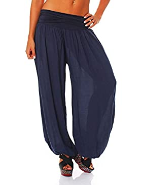 malito Bombacho Aladin Harem Pantalón Boyfriend Baggy Yoga 1482 Mujer Talla Única (azul oscuro)