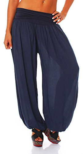 malito Pantaloni alla zuava Aladin Harem Pantaloni Boyfriend Sbuffo Pump Baggy Yoga 1482 Donna Taglia Unica blu scuro