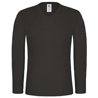 B&C Iggy Slub - T-shirt 100% coton flammé à manches longues et col en V - Homme (2XL) (Noir)
