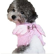 """Pet Palacio """"poco ángel"""" alas de perro o cachorro arnés y plomo Set con libre parpadeo de la luz de seguridad LED collar Tag"""
