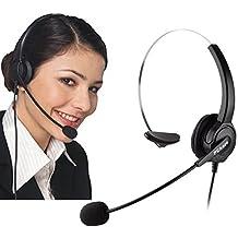 Auriculares para teléfonos IP de Cisco, PChero® 6 pies manos libres call center cancelación de ruido con cable mono 4-Pin Auricular Jefe RJ9 Crystal con micrófono para teléfonos de escritorio IP de Cisco