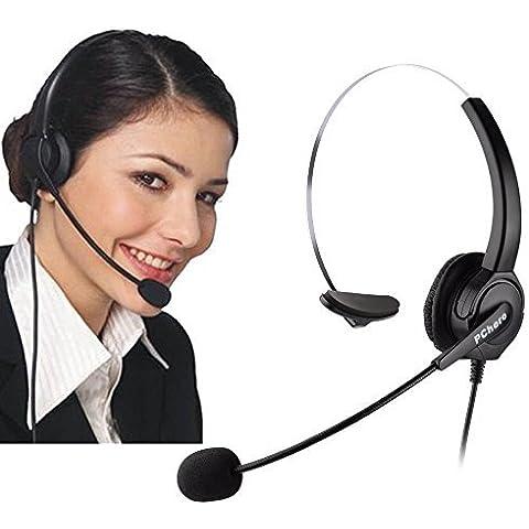 Auriculares para teléfonos IP de Cisco, PChero® 6 pies manos libres call center cancelación de ruido con cable mono 4-Pin Auricular Jefe RJ9 Crystal con micrófono para teléfonos de escritorio IP de