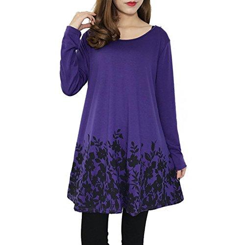 Juleya Femme Chemise Mini Robes Manches Longues Femmes Chemisiers Casual T-shirt Fleurs Imprimé Tops Solide Lâche Tops Travail Casual Violet