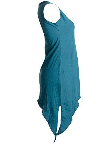 Vishes - Alternative Bekleidung – Zipfeliges Elfenkleid aus Baumwolle – mit rundem Rückenausschnitt Türkis