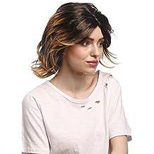 WIG ME UP ® - 6046-P27TP1 Peluca mujeres Carnaval Halloween corto partida media, salvaje, marrón rubio veteado