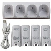 OSTENT Charger Dock Station + 4 paquetes de baterías compatibles para el mando a distancia Nintendo Wii Color blanco