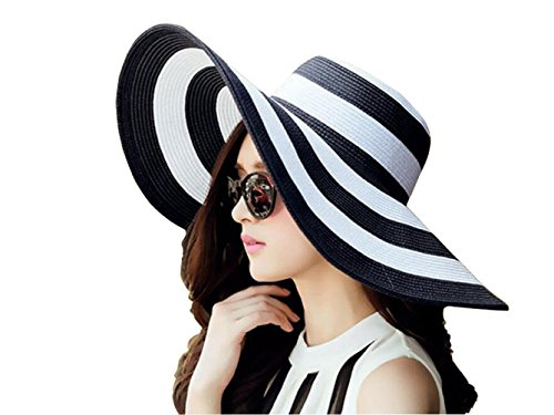 1 pieza de parrillas para mujer, color blanco + negro, a rayas, plegables, para playa, sombrero de sol elegante, para verano, playa, pajita, capuchón UPF 50 +