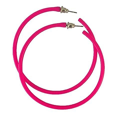 REDSTAR FANCY DRESS Neon Hoop Earring 1980s Fancy Dress Accessory 80s Party - Many Colours (Pink)
