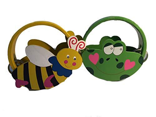 Tamburin - aus Holz -2 Stück Frosch und Biene - mit Metall Schellen / für Kinder & Erwachsene - Perkussion - Tambourin Handtrommel Musikintrument Instrument Musikinstrumente Spielzeug Holzspielzeug