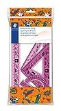 Staedtler 569 Design Comic - Polybag 1 Set De Géométrie (Règle 30 Cm, Rapporteur 10 Cm, Équerres 60/30 & 45/45) Couleurs Assorties