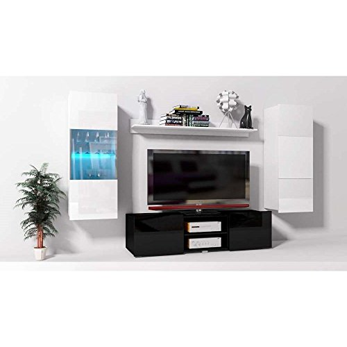 JUSThome Onyx XX C LED Wohnwand Anbauwand Schrankwand Weiß Matt | Schwarz Hochglanz