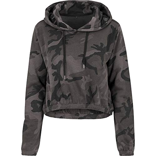 Cotton Addict Womens Camo Cropped Cotton Hoodie Sweatshirts -