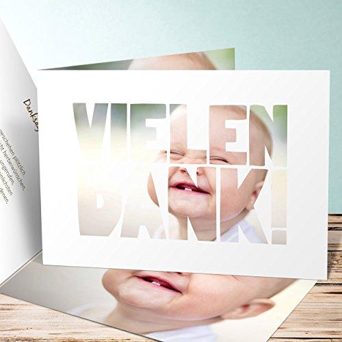 Baby Danksagung, Fototext Geburt 5 Karten, Horizontale Klappkarte 148x105 inkl. weiße Umschläge, Weiß