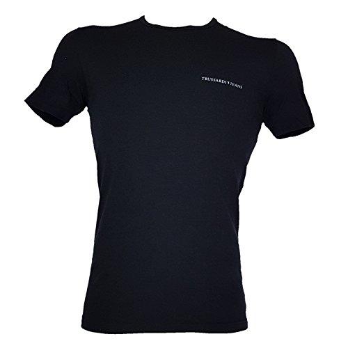 Trussardi t-shirt mezza manica girocollo uomo in cotone elasticizzato, nero, s